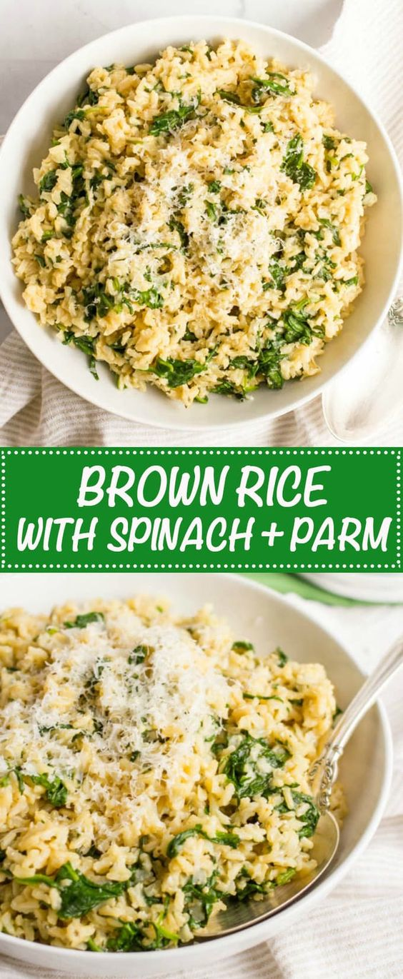 BROWN RICE WITH SPINACH AND PARMESAN CHEESE #brownrice #spinach #parmesan #parmesancheese #healthyfood #healthyrecipes