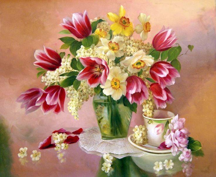 Pintura de Jarros de Flores