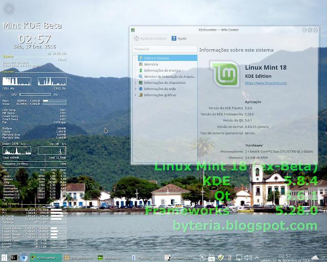 Linux Mint 18 (ex-Beta) com KDE 5.8.4, Qt 5.6.1 e Frameworks 5.28.0