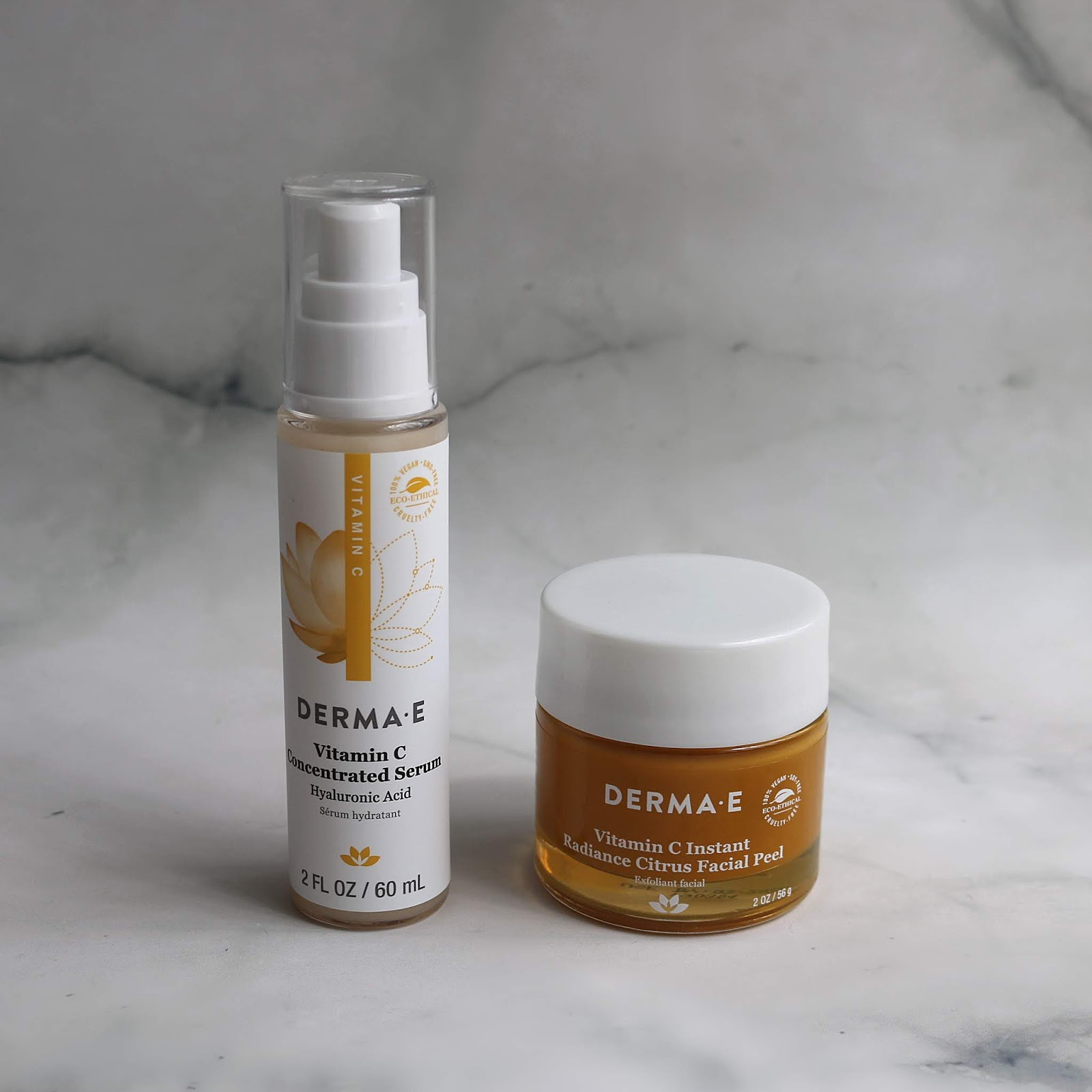 DERMA E Vitamin C Concentrated Serum & Instant Radiance Citrus Facial Peel Review