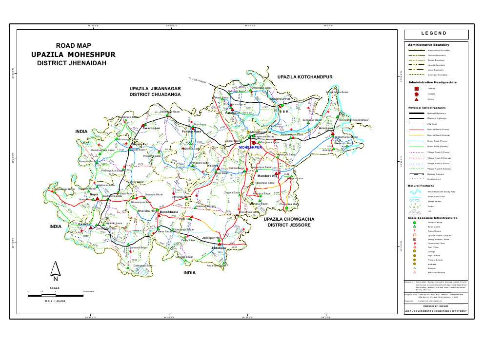 Moheshpur Upazila Road Map Jhenaidah District Bangladesh