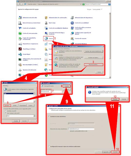 Si desea crear un perfil si cuentas de cuentas de correo electrónico, haga clic en Aceptar. Si no desea crear un perfil haga clic en Cancelar.