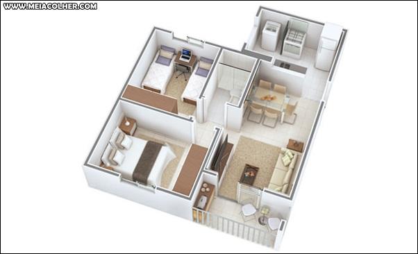 Casa de dois quartos e um banheiro 3