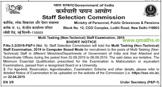 SSC MTS 2019 Recruitment Short Notice