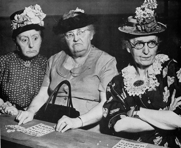 Three very crabby old ladies playing Bingo 1950s. Grandmothers and Glasses and Other stories of Matronly Women. marchmatron.com