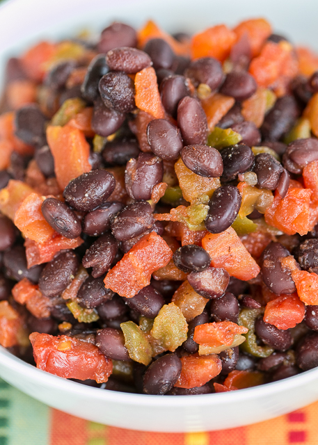 Southwestern Black Beans - only 4 ingredients! Black beans, diced tomatoes and green chiles, chili powder and lime juice. We make them all the time! Ready in 5 minutes!! Such a quick and easy side dish!!