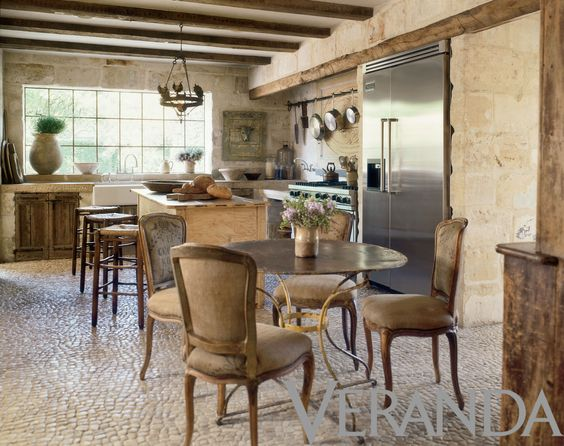 image result for French European kitchen Pamela Pierce reclaimed stone