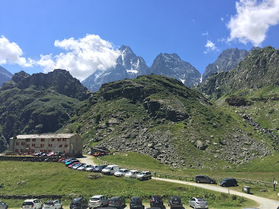 View of Rifugio Pian del Re with Monviso
