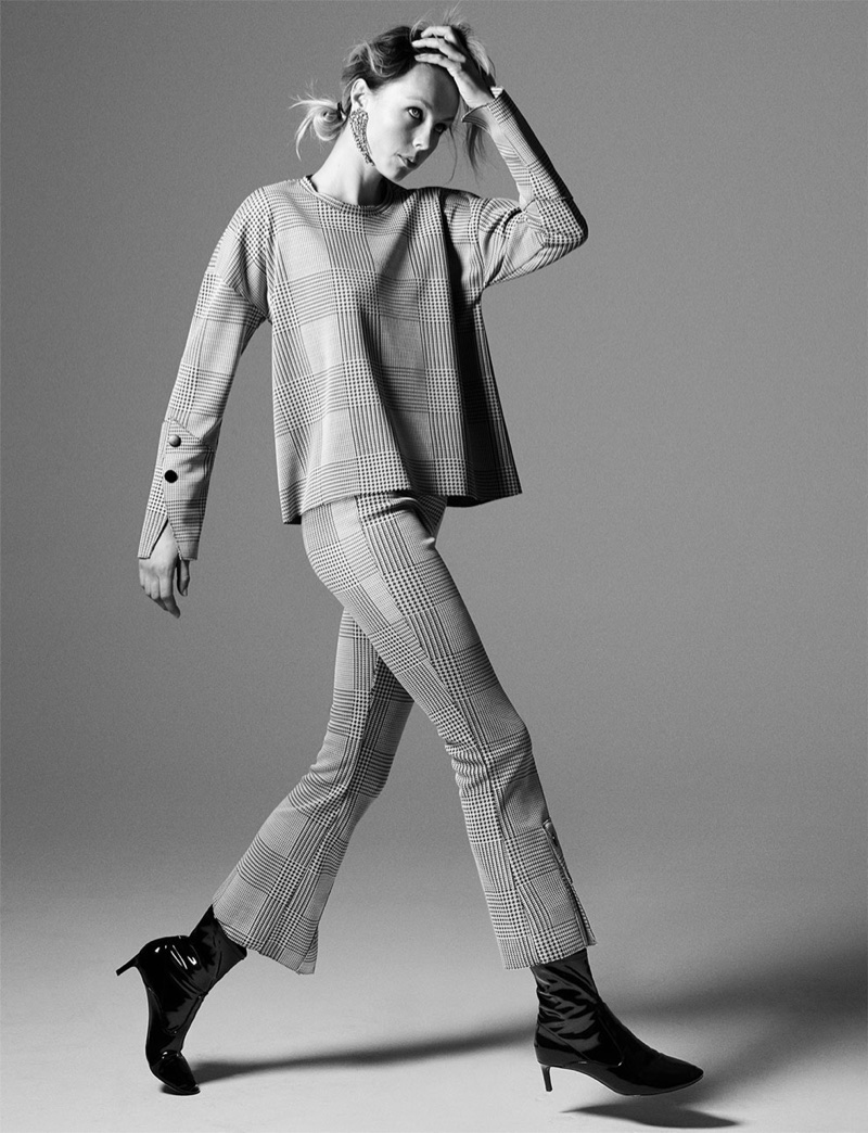 Edie Campbell wears Zara Checked Top, Checked Trousers and Faux Patent Ankle Boots