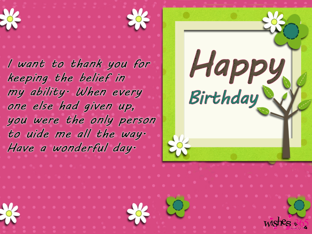 Poetry and worldwide wishes happy birthday greeting cards for i want to thank you for keeping the belief in my ability when everyone else had given up you were the only person to guide me all the way kristyandbryce Choice Image