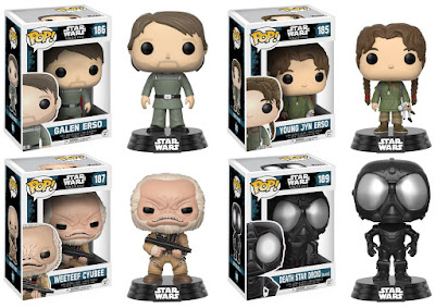 Star Wars Rogue One Pop! Series 2 by Funko - Galen Erso, Young Jyn Erso, Weeteef Cyubee & a black Death Star Droid