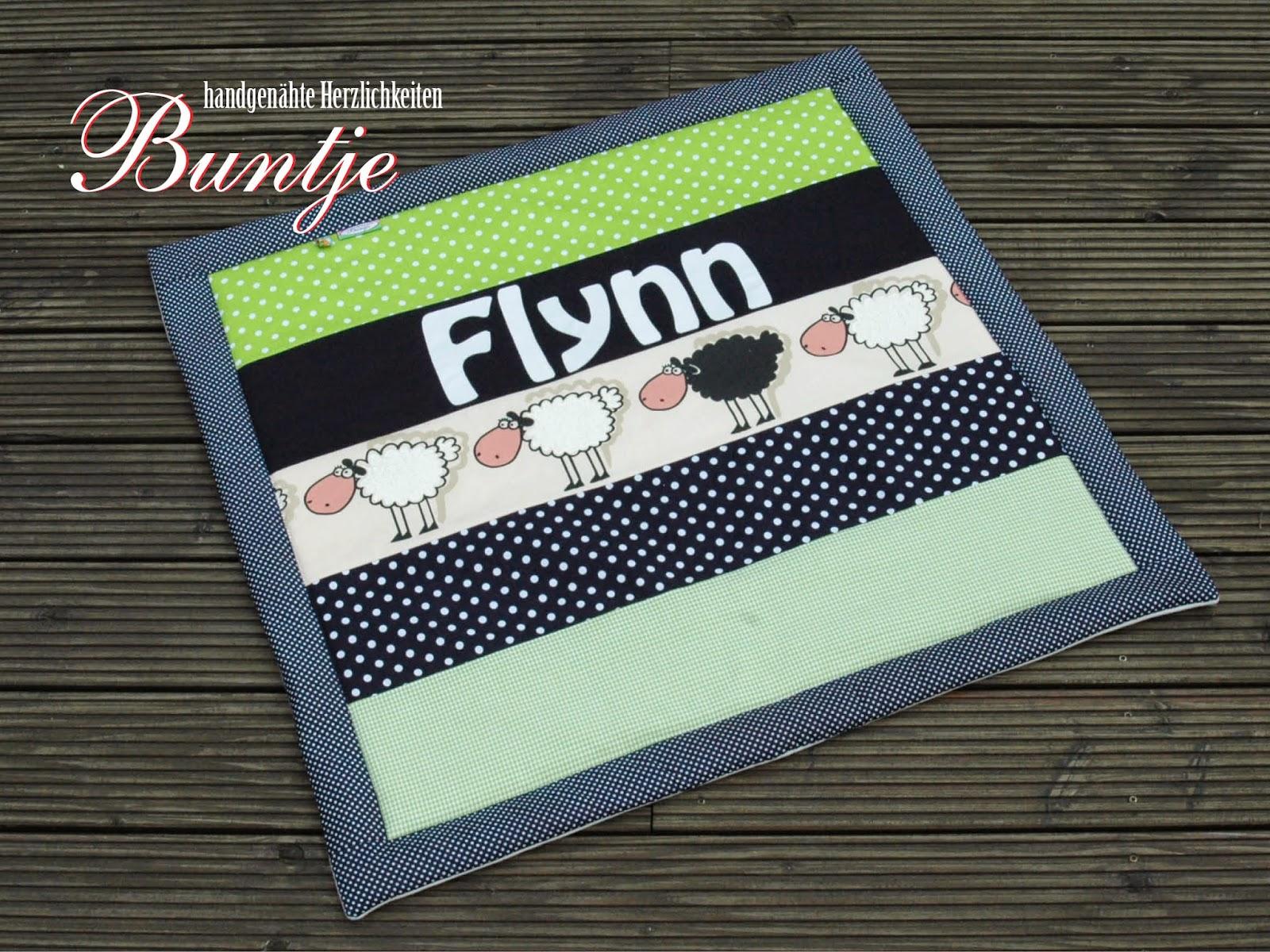 Krabbeldecke Kuscheldecke Decke Baby Name Junge Flynn Geschenk Geburt Taufe grün blau Schafe Baumwolle Fleece Buntje nähen