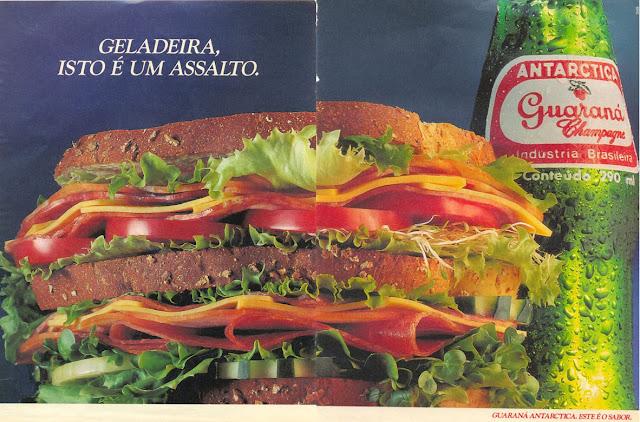Campanha do Guaraná Antartica veiculada em 1991 apresentando um saboroso sanduíche e atiçando a vontade de comer