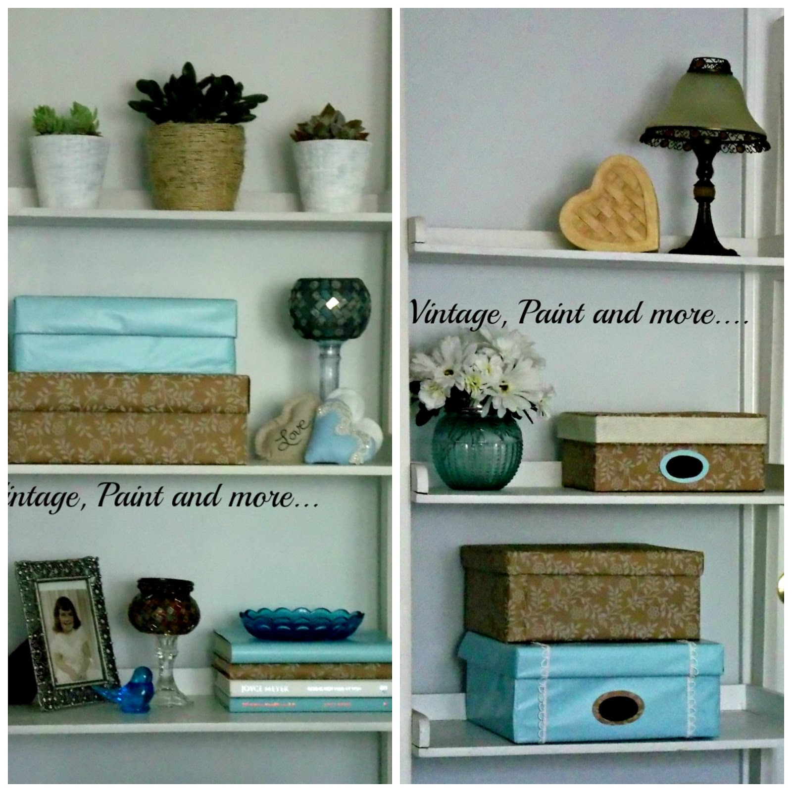 Vintage, Paint and more... decorative shelf storage, paper covered boxes used as decorative storage, recycled boxes for storage