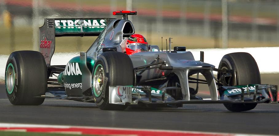 Driver Michael Schumacher, of Mercedes AMG Petronas Formula One Team, takes his session on the track on Nov. 15, 2012.