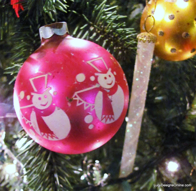 vintage pink snowman glass ornament