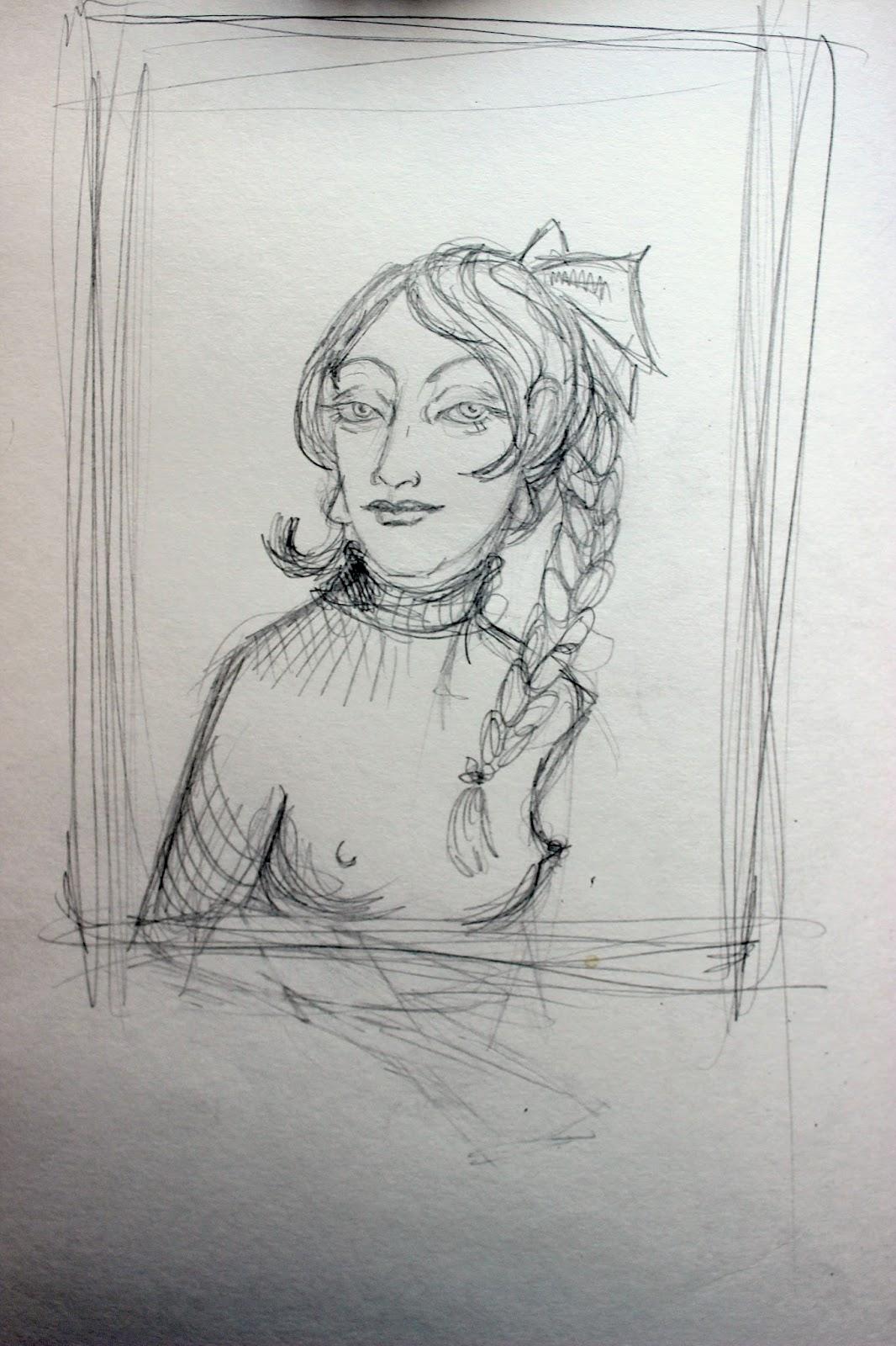 Sketchpad Notebook Sketch Drawing Pencil Portrait Girl Nipples