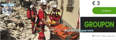 Logo Con Groupon: dona 3 euro alla Croce Rossa per Emergenza terremoto