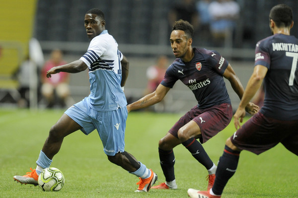 Quissanga Bastos and Aubameyang in action during Arsenal vs Lazio