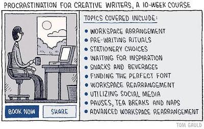 Meme de humor sobre la procrastinación de los autores al escribir