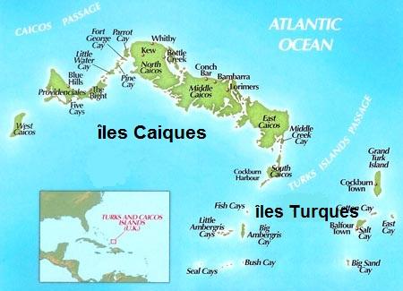 Carte des iles Turques et Caiques
