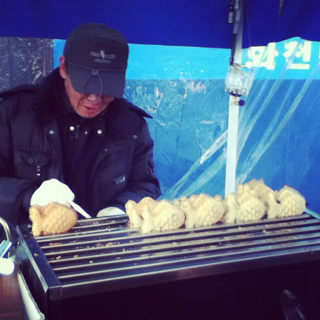 Sweet red bean and custard waffle fish at The Hwacheon Ice Festival in Korea | Lindsay Eryn