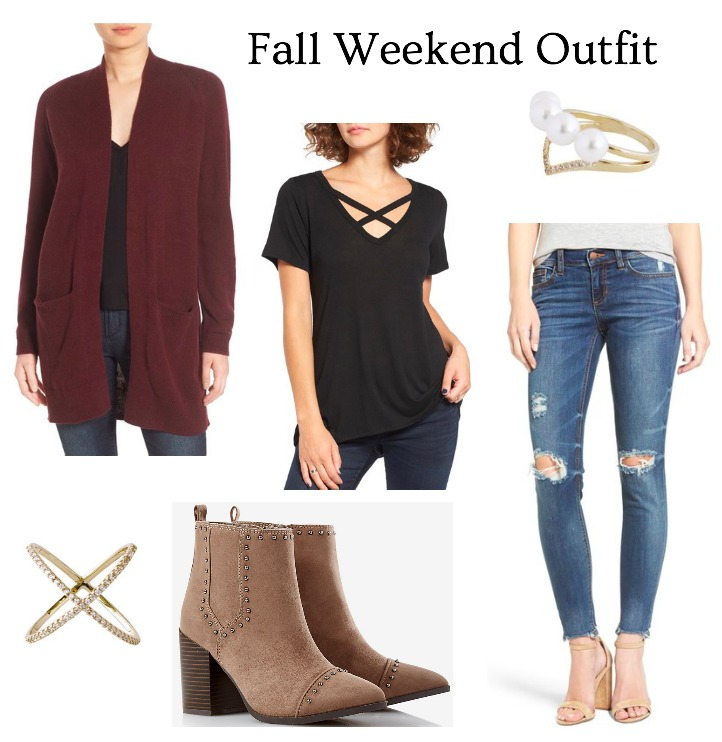 frayed hem jeans and burgundy cardigan outfit idea