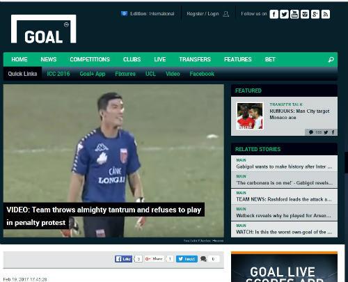 Hình ảnh thủ môn Minh Nhựt (Long An) xuất hiện trên mục News (Tin tức) của tờ Goal