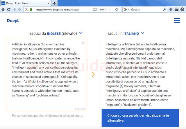 Traduzione di DeepL Traduttore online