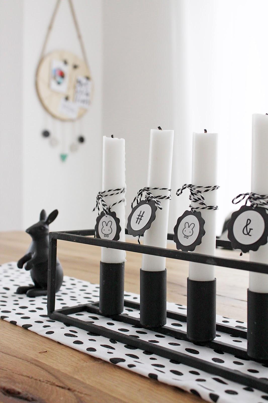 moderner Osterkranz aus Kerzenständer mit Anhänger