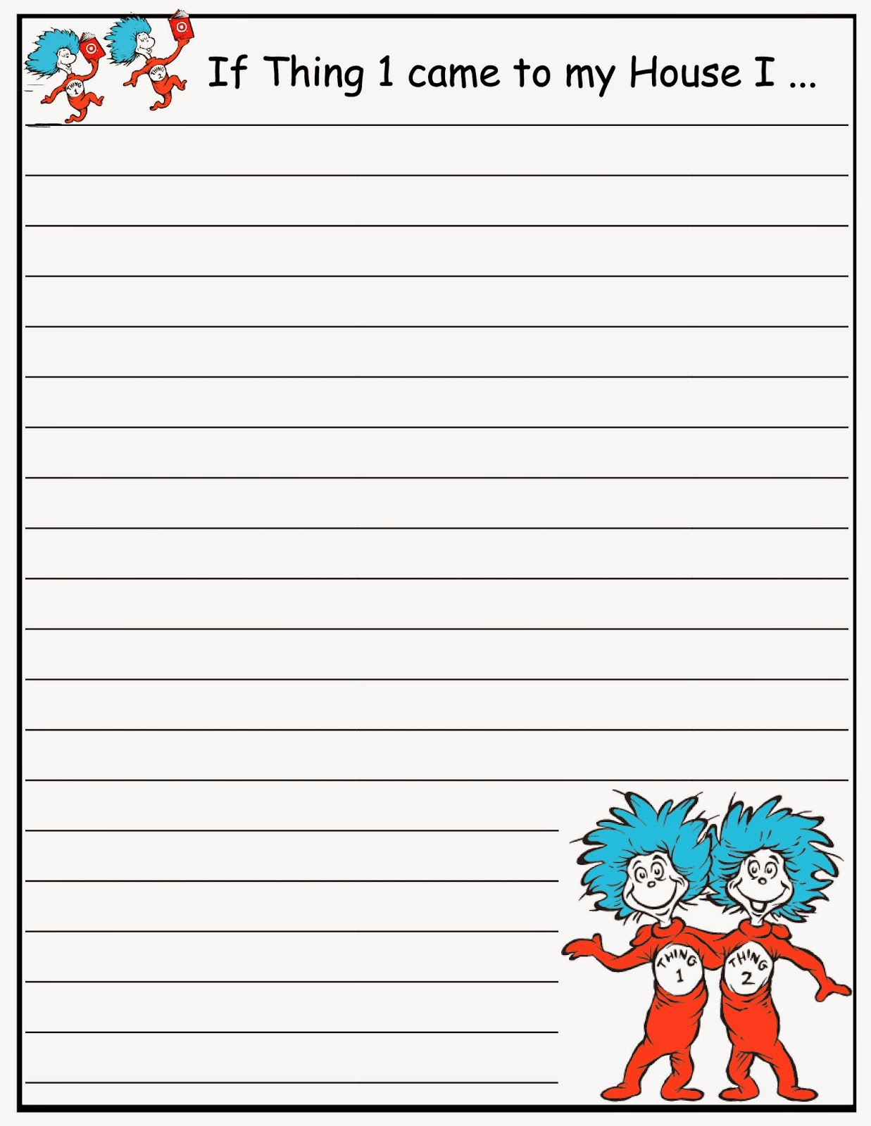 Dr. Seuss Writing Papers (FREE)  Free Printable Writing Paper