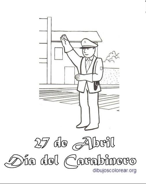 Colorear 27 de Abril, día del Carabinero