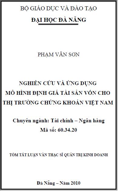 Nghiên cứu và ứng dụng mô hình định giá tài sản vốn cho thị trường chứng khoán Việt Nam