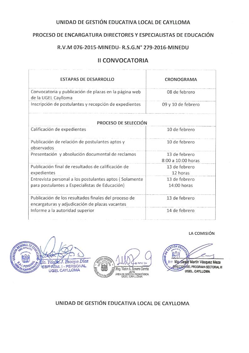 Segunda convocatoria para encargatura de directores y for Convocatoria para docentes
