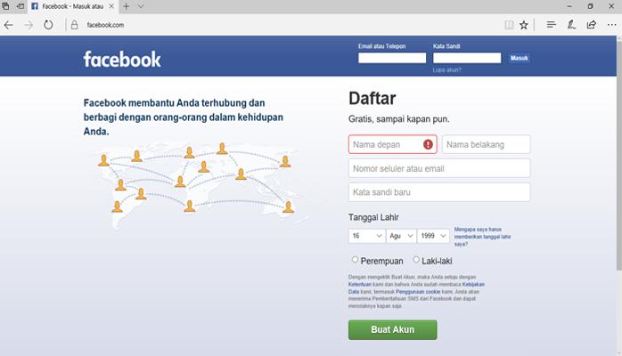 Langkah Awal Mendaftar Facebook