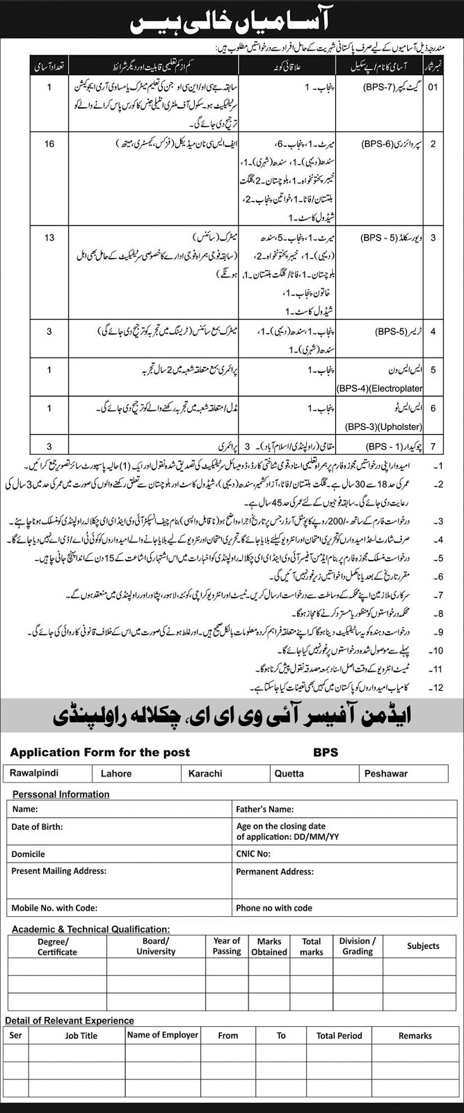 Latest Vacancies Announced in Public Sector Organization Rawalpindi 23 September 2018 - Naya Pak Jobs