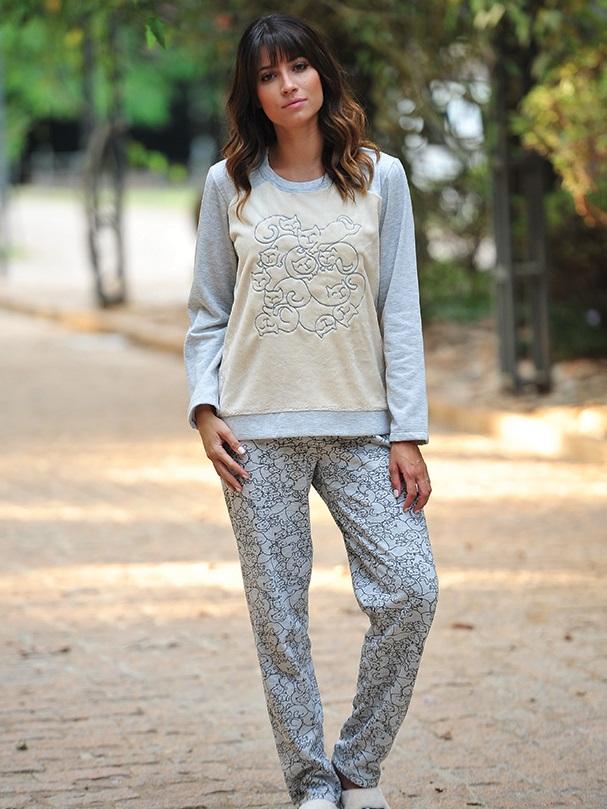 Pijama feminino flanelado