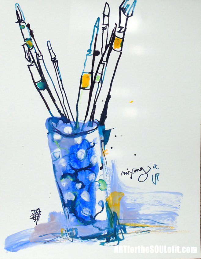 Paint Brushes in Blue Vase - ink and acrylic by Joanie Springer