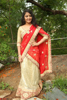 Akshara in Red Saree Golden Choli at LV Movie Makers Production No 1 Movie Opening ~  Exclusive 121.JPG