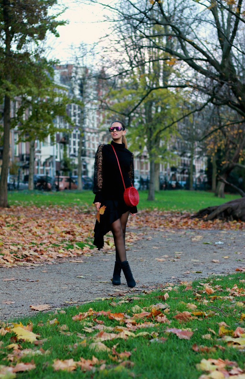Tamara Chloé, Amsterdam, Fall, Burgundy Bali bag, Ruffled skirt, Jacky Luxury sweater, Diesel Gold Sunglasses