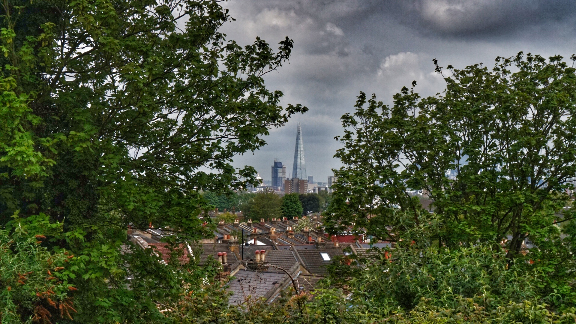 view of The Shard and other London rooftops through some trees on a moody grey day