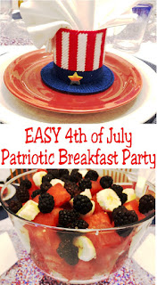 Put together a fun and EASY Patriotic breakfast to start the busy 4th of July holiday. Your kids will love it and you will love how easy and patriotic it is. Such a great way to start the 4th of July festivities. #4thofJuly #PatrioticBreakfast #DIYPartyMomblog #familybreakfast #familyparty
