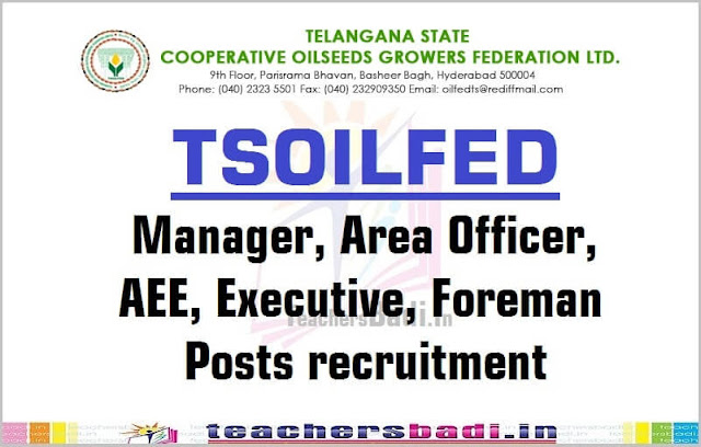TSOILFED,Manager,Area Officer,AEE,Executive,Foreman Posts 2016 recruitment
