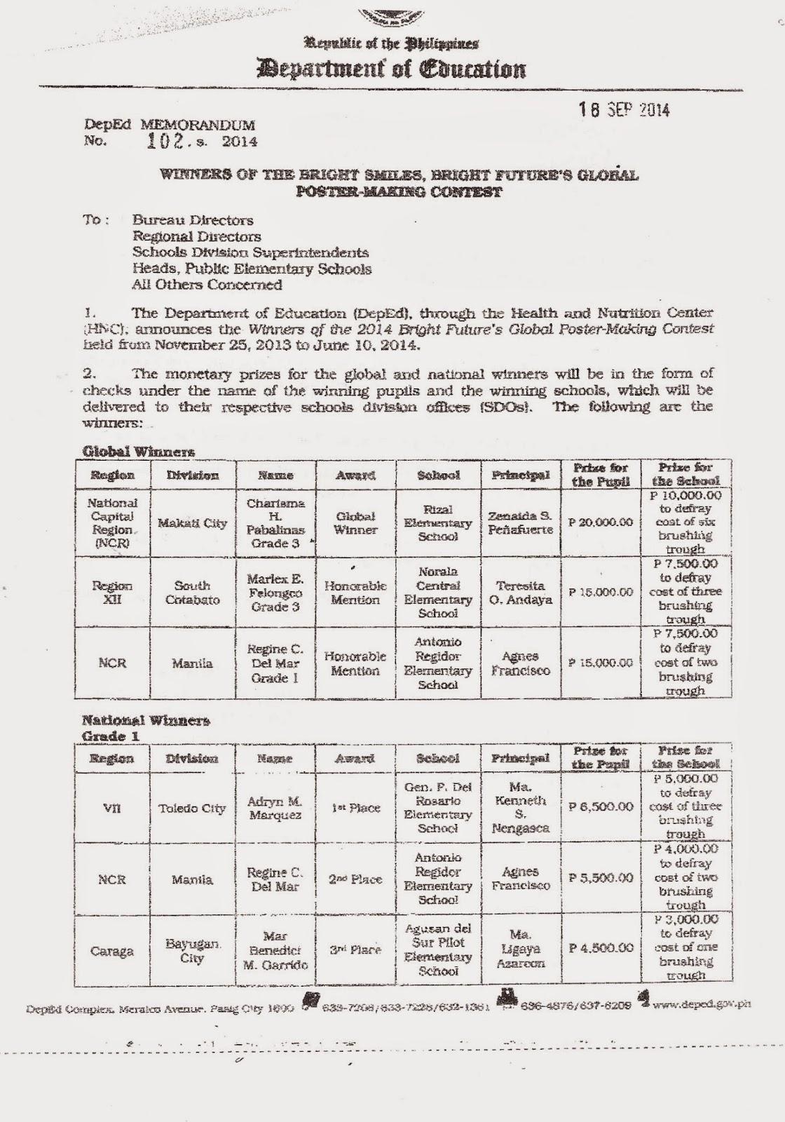 Department of Education Manila: Division Memorandum No  555