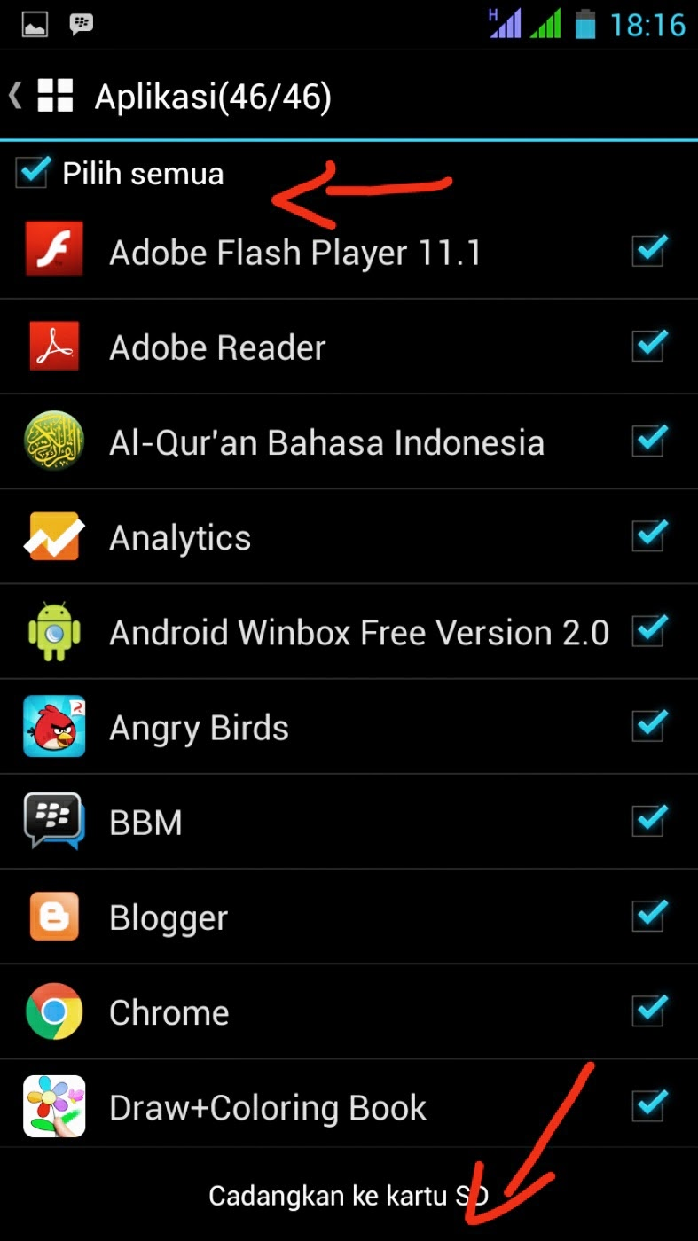 mencadangkan aplikasi android