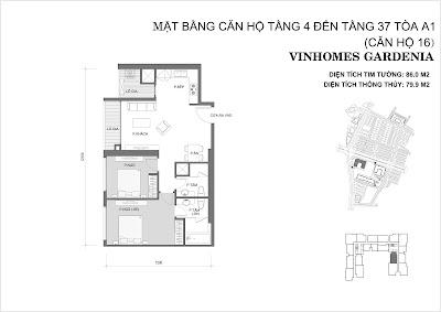 căn hộ 2 phòng ngủ chung cư vinhomes gardenia