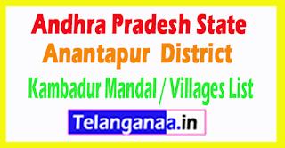 Kambadur Mandal Villages Codes Anantapur District Andhra Pradesh State India
