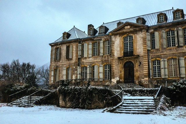 Exterior of French Chateau Gudanes in winter