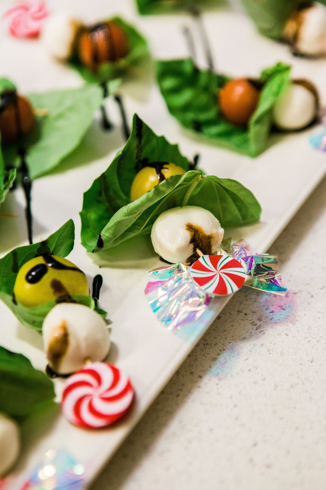 caprese bites, party appetizers, how to decorate for holiday party, papyrus holiday line