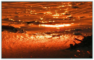 Sunset making Sea look like Fire Water